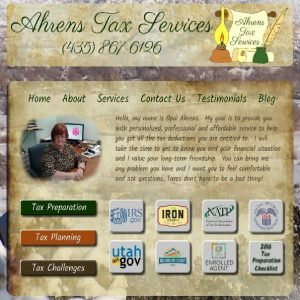 Ahrens Tax Services cover sheet